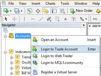 Trading account login