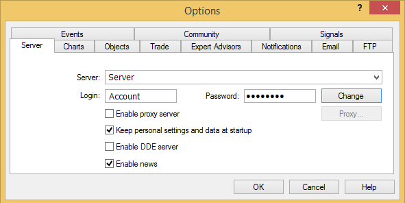 "Change trading password under tab ""Server"""
