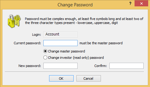 Trading account password change