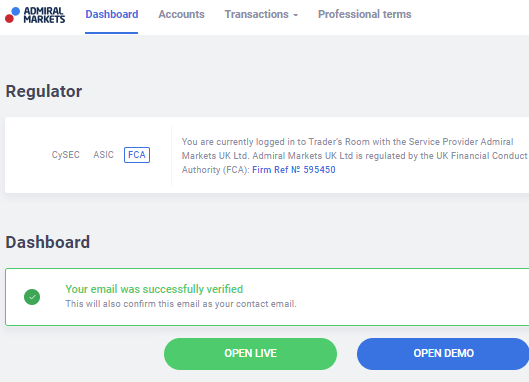 Live or Demo account Selection