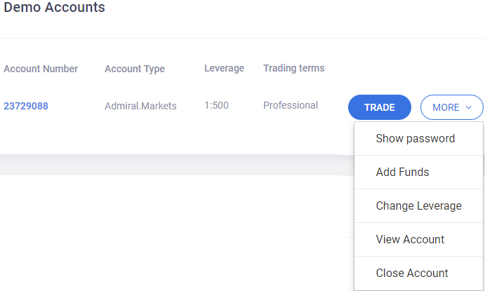 Trader's Room - Demo Account Details