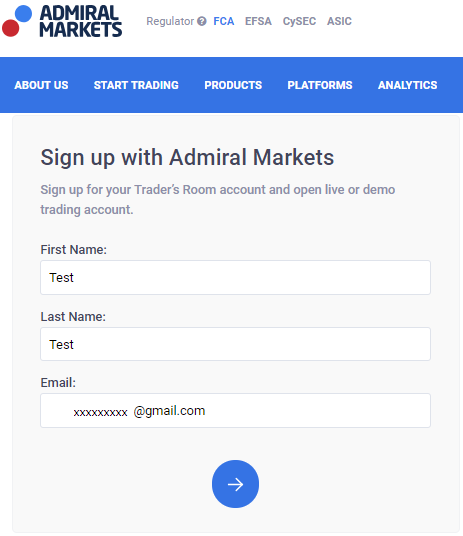 Admiral Markets Sign Up Form