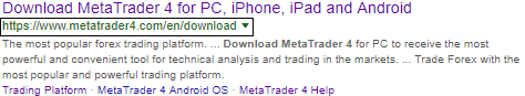 Metatrader4 download - Google Chrome search result
