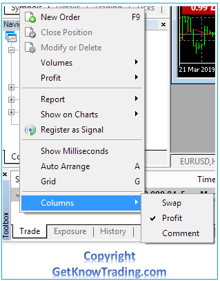 Metatrader 4  - Toolbox Columns Reducing
