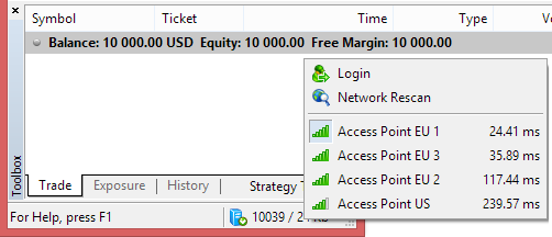 Metatrader 4 demo account - account connection speed