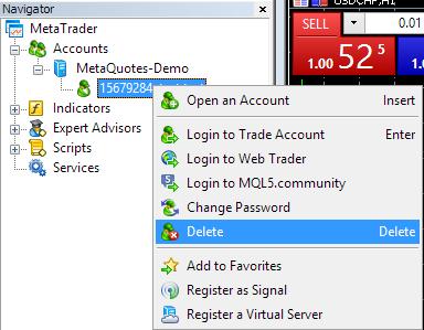 Metatrader 4  - Navigator Account Menu
