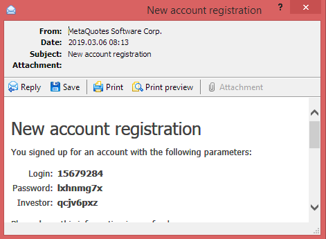 Metatrader 4 demo account - log in details window