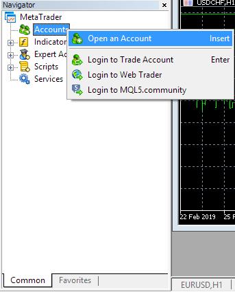 Open new account through Navigator window