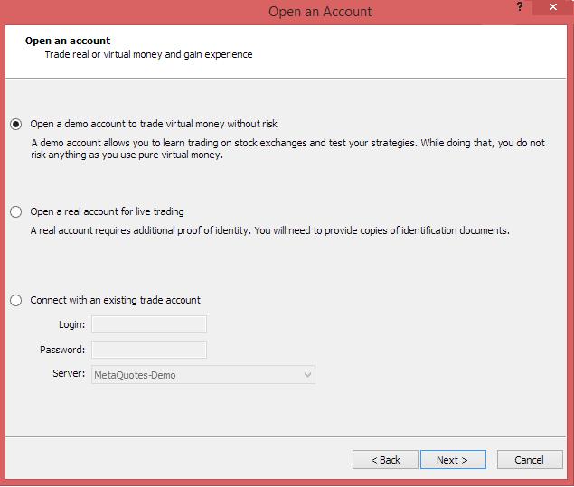 Metatrader 4 demo account - open demo account selection