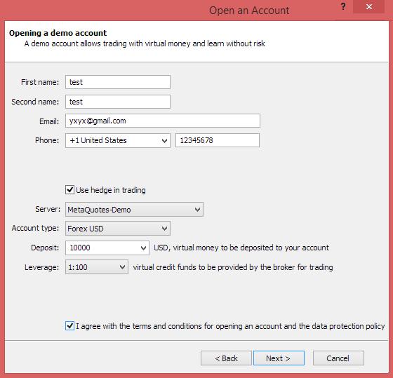 Metatrader 4 demo account - demo account information
