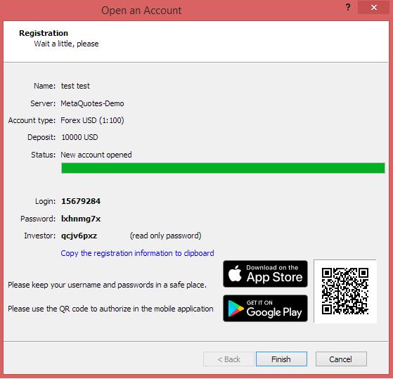 Metatrader 4 demo account - New demo account open