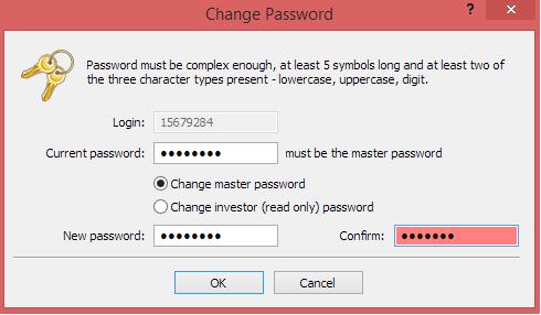 Metatrader 4 demo account - new password error