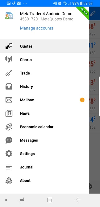 Metatrader mobile - Main menu