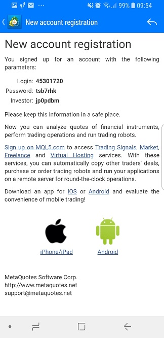 Metatrader mobile - new account registration details