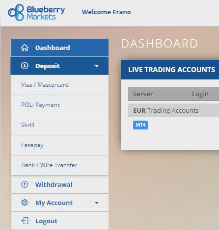 Blueberry Account Deposit