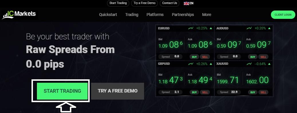 IC Markets Main web page