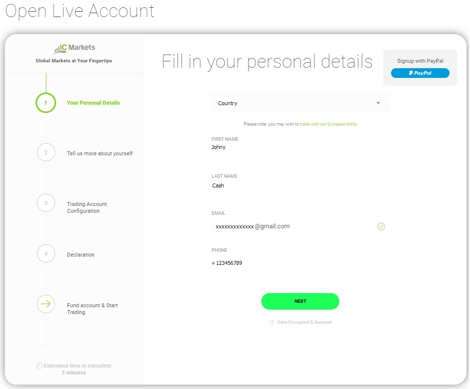 Open Live IC Markets Account  - Step 1