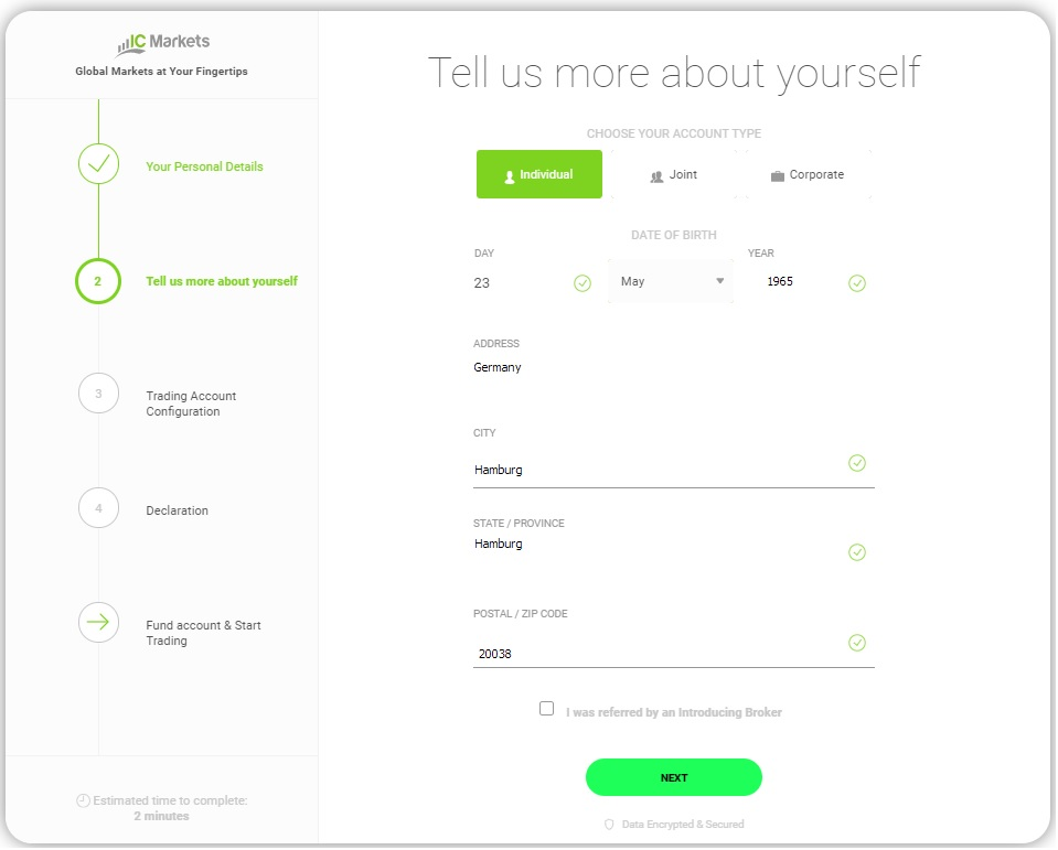 Open Live IC Markets Account  - Step 2