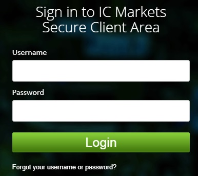 IC Markets Client Area Login Page