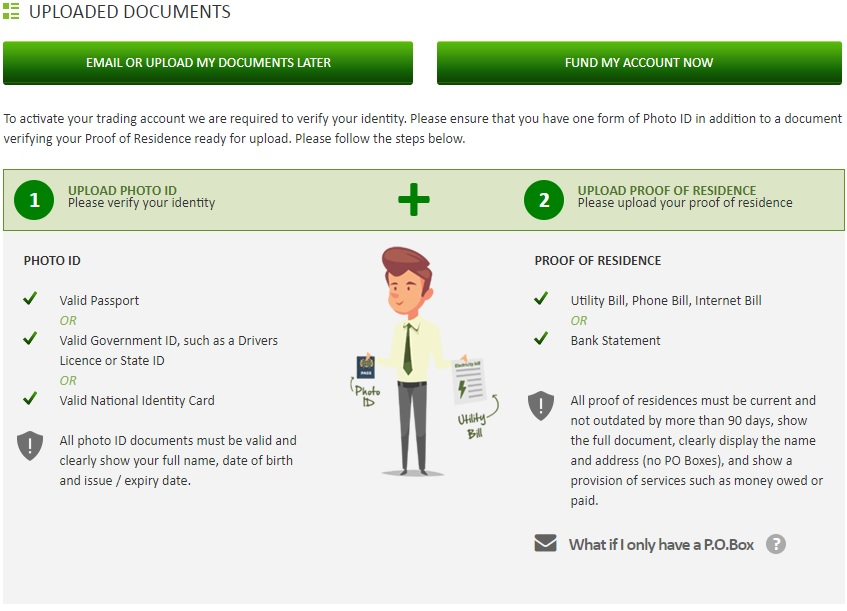 IC Markets Client Area Page - Upload Documents